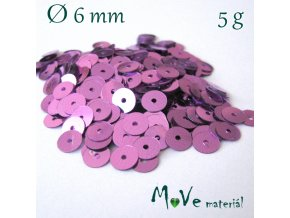 Flitry hladké 6mm, 5g, růžovofialové