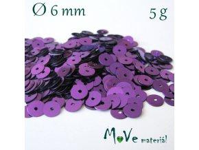 Flitry hladké 6mm, 5g, fialové