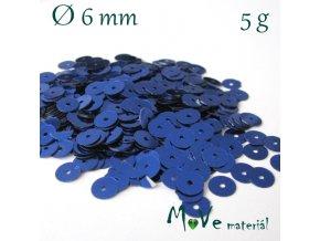 Flitry hladké 6mm, 5g, modré