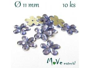 Květina plast 11mm našívací 10 ks sv. fialová