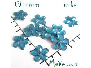 Květina plast 11mm našívací 10 ks tyrkysová