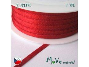Stuha atlasová jednolící 3mm, 1m, červená