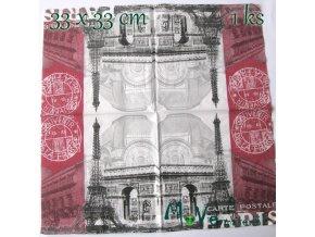 Ubrousek na decoupage 33 x 33cm 1ks, Paříž