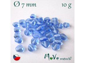 Česká skleněná srdíčka 7x7mm 10g, modrá