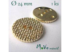 Knoflík ozdobný dvoudírkový 24mm/1ks, zlatý