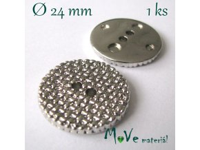 Knoflík ozdobný dvoudírkový 24mm/1ks, stříbrný