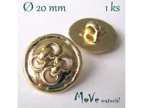 Knoflík ozdobný čtyřdírkový 20mm/1ks, zlatý