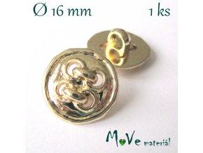 Knoflík ozdobný čtyřdírkový 16mm/1ks, zlatý