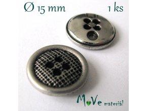Knoflík ozdobný čtyřdírkový 15mm/1ks