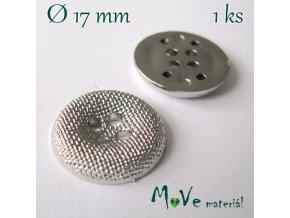 Knoflík ozdobný čtyřdírkový 17mm/1ks, stříbrný