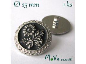 Knoflík ozdobný s květinou 25mm/1ks