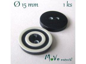 Knoflík ozdobný dvoudírkový 15mm/1ks