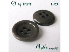 Knoflík ozdobný čtyřdírkový 14mm/1ks