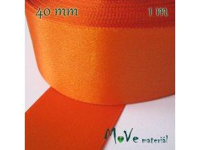 Stuha atlasová jednolící 40mm, 1m, oranžová