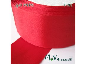 Stuha atlasová jednolící 40mm, 1m, červená