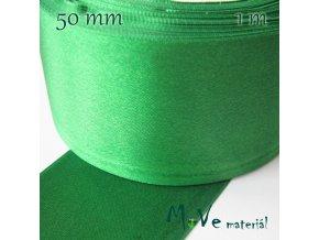 Stuha atlasová jednolící 50mm, 1m, zelená