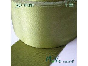 Stuha atlasová jednolící 50mm, 1m, olivová