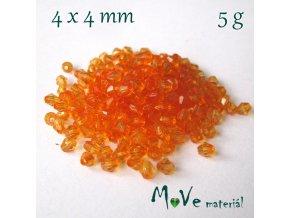 Korálek plast - sluníčko 4x4mm, 5g, oranžové