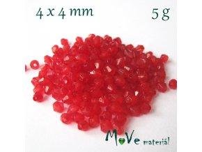 Korálek plast - sluníčko 4x4mm, 5g, červené