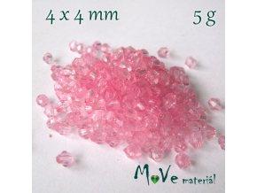 Korálek plast - sluníčko 4x4mm, 5g, růžové