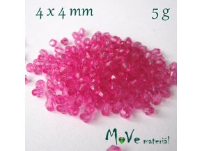 Korálek plast - sluníčko 4x4mm, 5g, tm. růžové