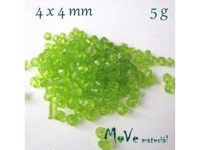Korálek plast - sluníčko 4x4mm, 5g, zelené
