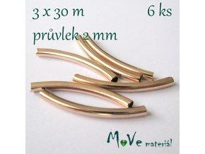 Korálek kovový 30x3mm trubička, 6ks, zlatá