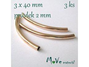 Korálek kovový 40x3mm trubička, 3ks, zlatá
