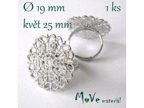 Prstýnek filigrán-květ 18-19mm, stříbrný 1ks
