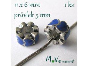 Korálek kovový s šir. průvlek. 1 kus, modrý