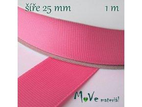 Stuha rypsová 25mm 1m, ostře růžová