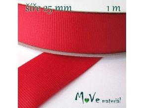Stuha rypsová 25mm 1m, červená