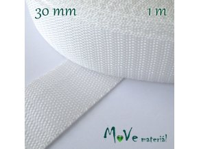 Popruh polypropylénový šíře 30mm, 1m, bílý