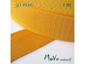 Popruh polypropylénový šíře 30mm, 1m, žlutý