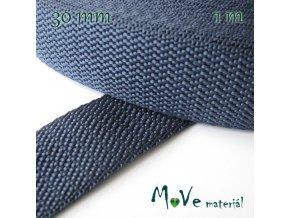 Popruh polypropylénový šíře 30mm, 1m, tm. modrý