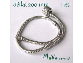 Hadí řetízek na ruku d.20cm, 1 kus, platina