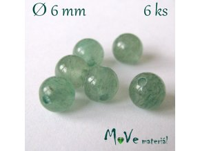 Aventurín - 6mm/6ks, zelený