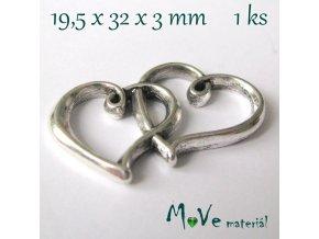 Mezikus srdce 19,5x32x3mm, 1ks, starostříbro