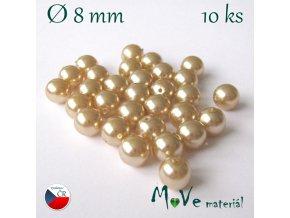 České voskové perle 8mm 30 ks, béžové