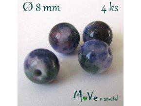 Jadeit - 8mm/4ks, modrý