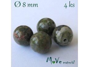 Unakit- 8mm/4ks, zelenohnědý