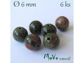 Unakit- 6mm/6ks, zelenohnědý