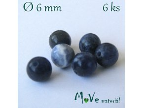 Sodalit - 6mm/6ks, modrý