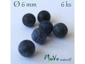 Sodalit - 6mm/6ks, modrý, matný