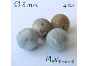 Amazonit - 8mm/4ks, zelenohnědý