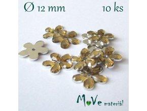 Květina plast našívací 10 ks zlatá