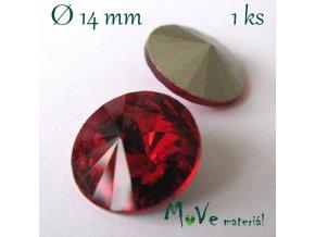 Skleněný šaton 14mm, červený