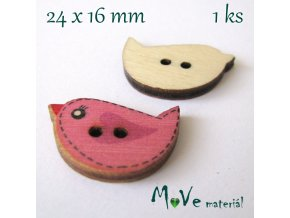 Knoflík dřevěný ptáček 24x16mm, 1ks, růžový