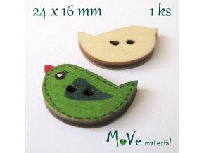 Knoflík dřevěný ptáček 24x16mm, 1ks, zelený