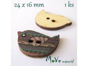 Knoflík dřevěný ptáček 24x16mm, 1ks, barevný